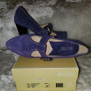 Michael kors  purple Annabel T Strap suede shoes